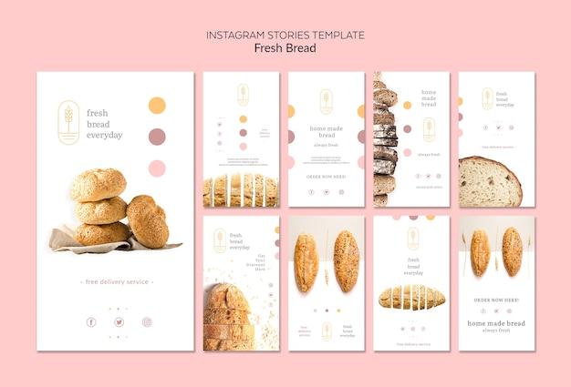 Plantilla de historias de instagram de concepto de pan