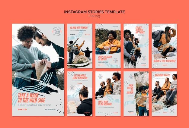Plantilla de historias de instagram de concepto de senderismo