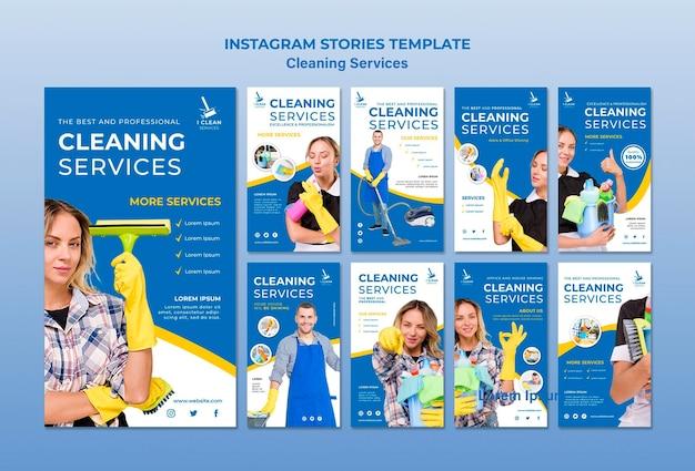 Plantilla de historias de instagram de concepto de servicio de limpieza