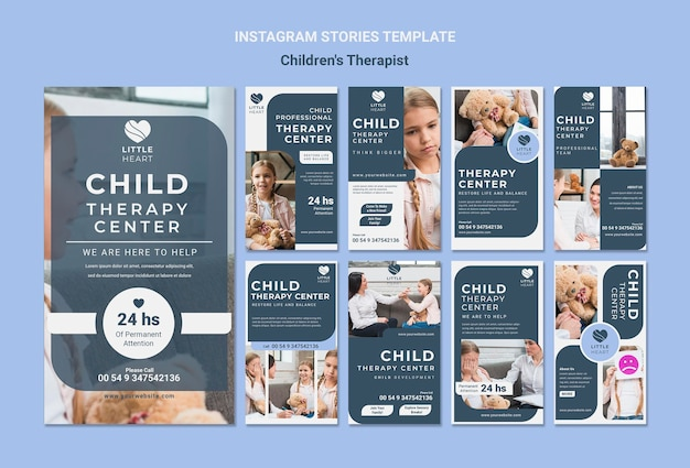 Plantilla de historias de instagram de concepto de terapeuta infantil