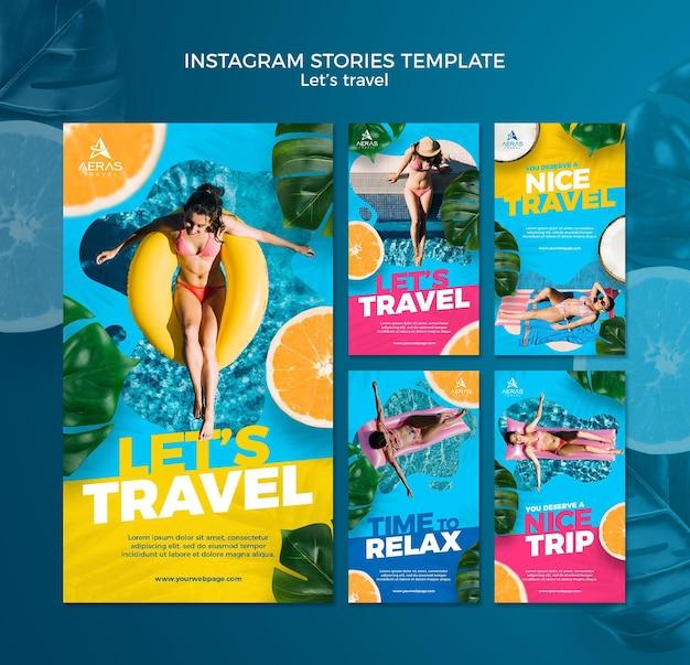 Plantilla de historias de instagram de concepto de viaje