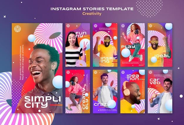Plantilla de historias de instagram de creatividad