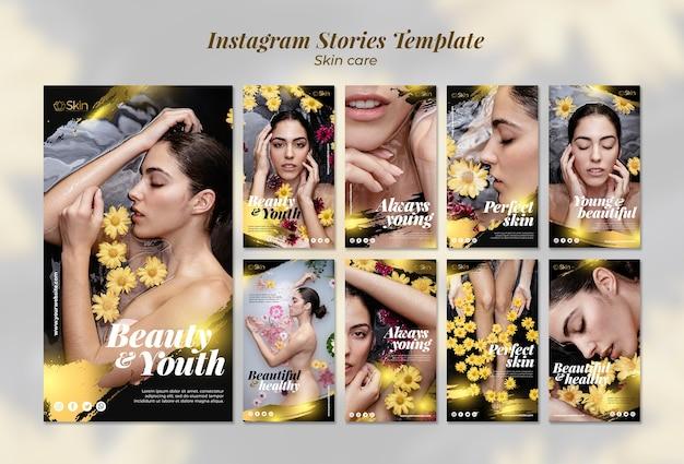Plantilla de historias de instagram de cuidado de la piel