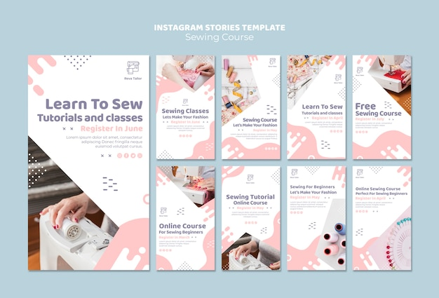 Plantilla de historias de instagram de curso de costura