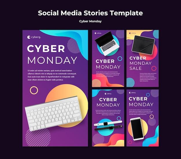 Plantilla de historias de instagram de cyber monday