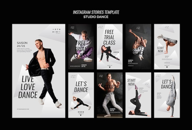Plantilla de historias de instagram de dance studio