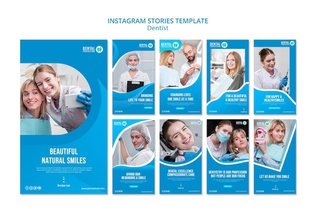 Plantilla de historias de instagram de dentista