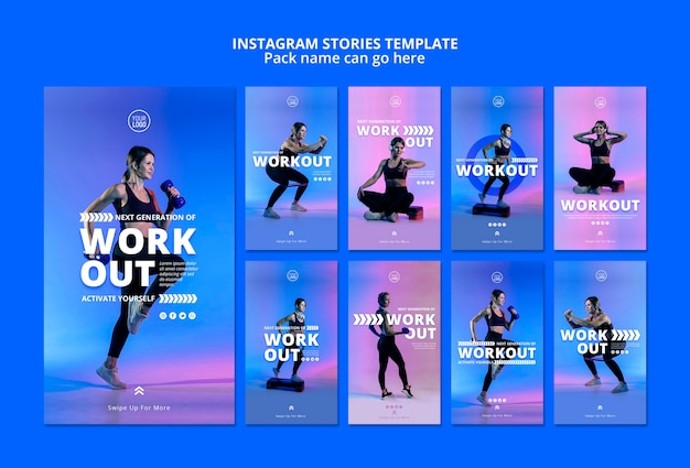 Plantilla de historias de instagram de deporte