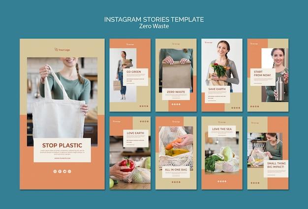Plantilla de historias de instagram sin desperdicio