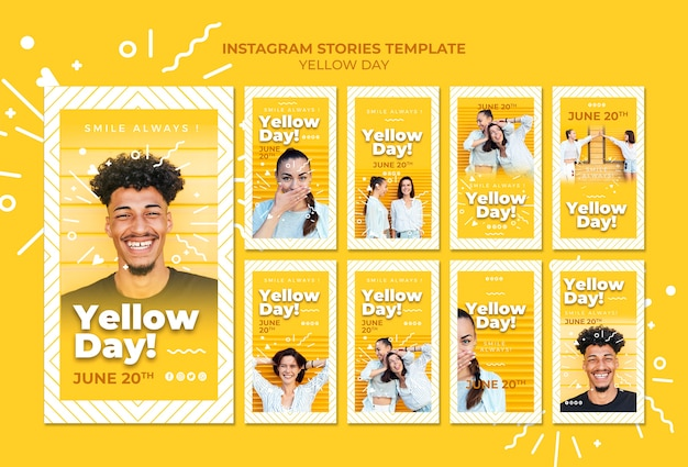 Plantilla de historias de instagram del día amarillo