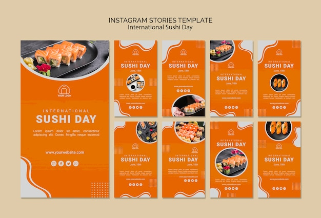 Plantilla de historias de instagram del día internacional del sushi