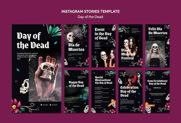 Plantilla de historias de instagram del día de muertos