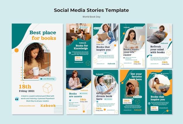 Plantilla de historias de instagram del día mundial del libro