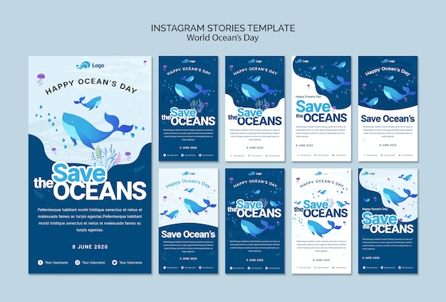 Plantilla de historias de instagram con el día mundial del océano