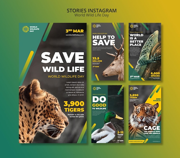Plantilla de historias de instagram del día mundial de la vida salvaje