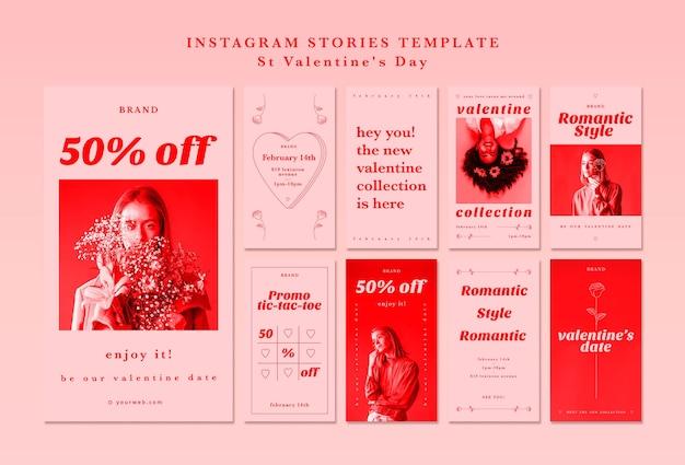 Plantilla de historias de instagram para el día de san valentín