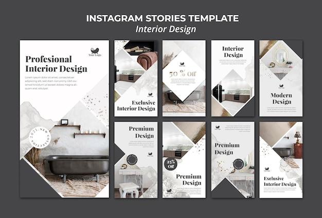 Plantilla de historias de instagram de diseño de interiores