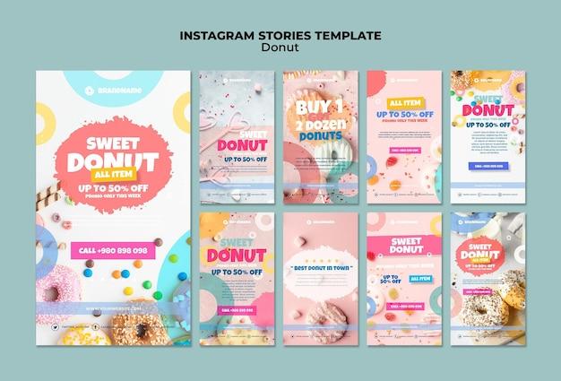 Plantilla de historias de instagram de donut