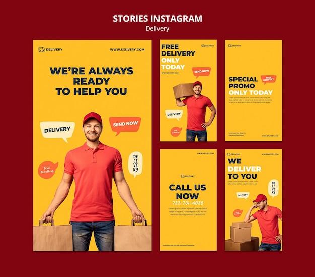 Plantilla de historias de instagram de entrega