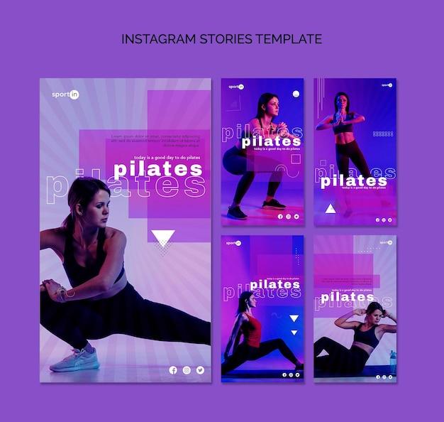 Plantilla de historias de instagram de entrenamiento de pilates