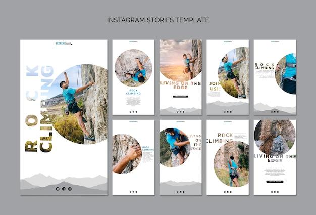 Plantilla de historias de instagram de escalada en roca