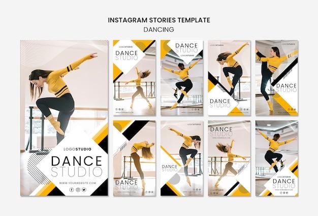 Plantilla de historias de instagram con estudio de baile