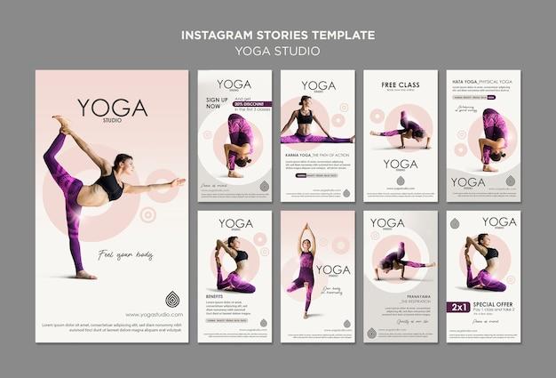 Plantilla de historias de instagram de estudio de yoga