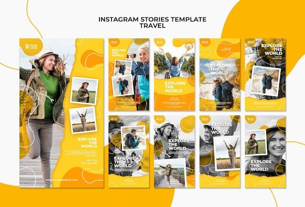 Plantilla de historias de instagram para explorar el mundo