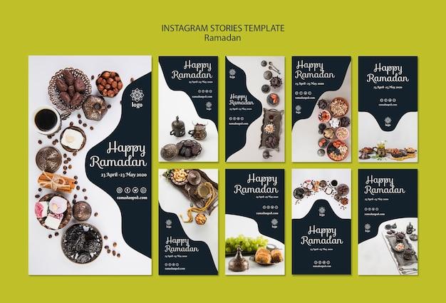 Plantilla de historias de instagram feliz ramadán