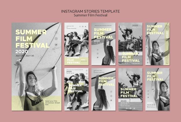 Plantilla de historias de instagram del festival de cine de verano