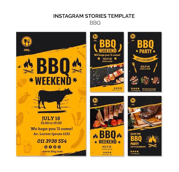 Plantilla de historias de instagram de fiesta de barbacoa