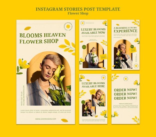 Plantilla de historias de instagram de floristería