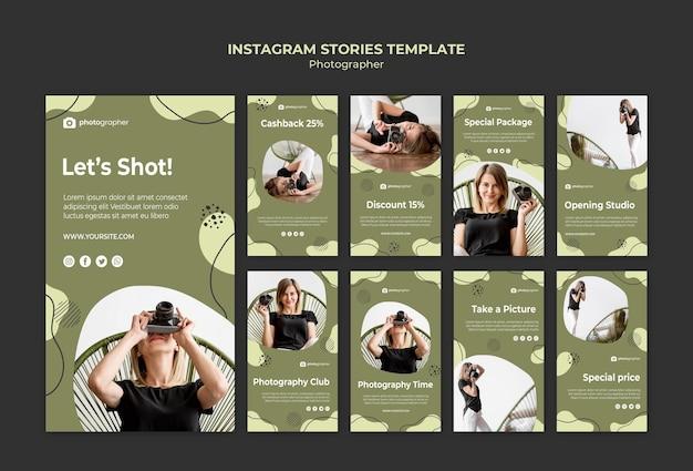 Plantilla de historias de instagram de fotógrafo
