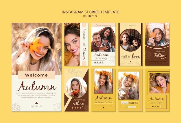 Plantilla de historias de instagram para fotos de otoño y chicas