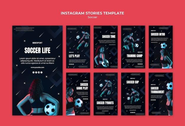Plantilla de historias de instagram de fútbol