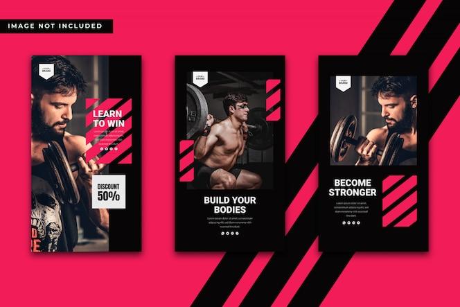 Plantilla de historias de instagram de gimnasio y fitness