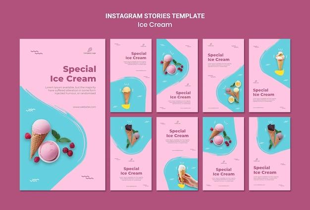 Plantilla de historias de instagram de heladería
