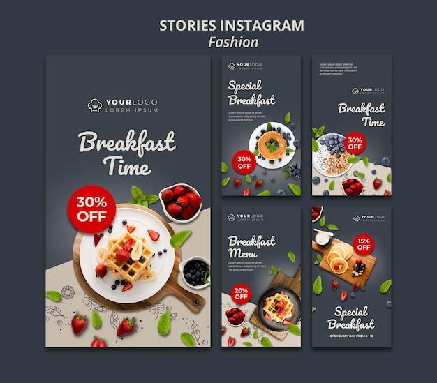 Plantilla de historias de instagram de la hora del desayuno