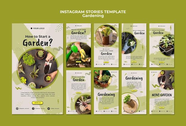 Plantilla de historias de instagram de jardinería
