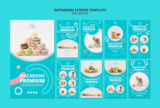 Plantilla de historias de instagram de macarons