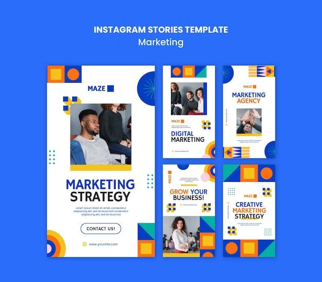 Plantilla de historias de instagram de marketing