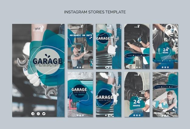 Plantilla de historias de instagram con mecánico