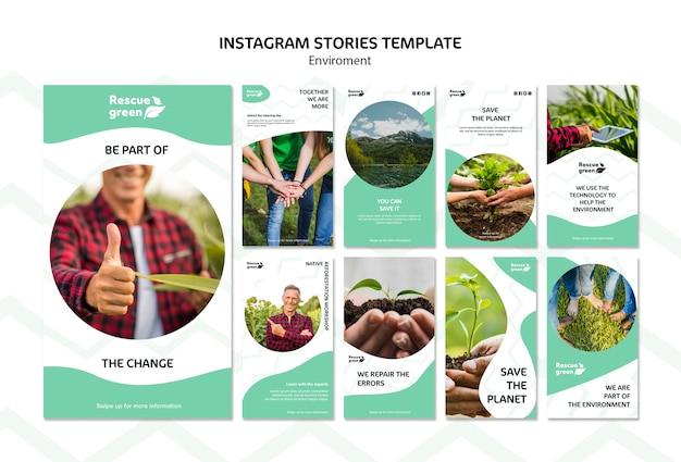 Plantilla de historias de instagram para el medio ambiente
