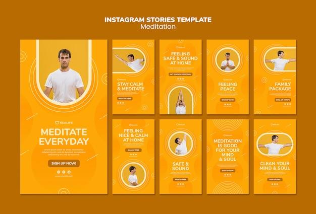 Plantilla de historias de instagram de meditación