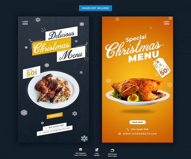 Plantilla de historias de instagram de menú de navidad psd premium
