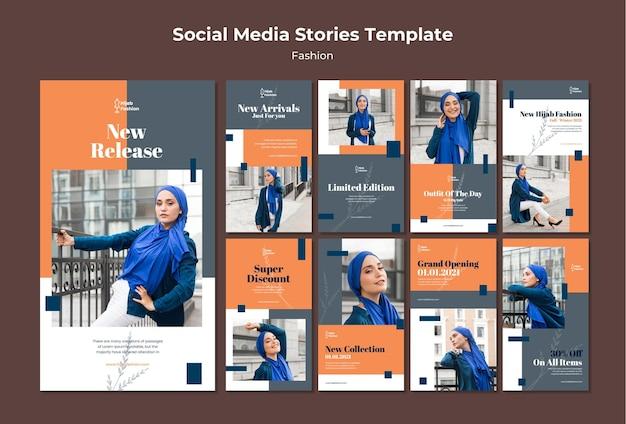 Plantilla de historias de instagram de moda con foto