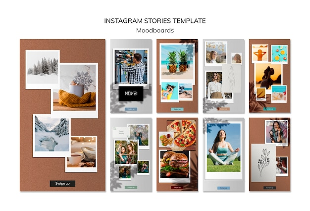 Plantilla de historias de instagram de moodboard