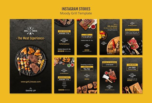 Plantilla de historias de instagram de moody grill
