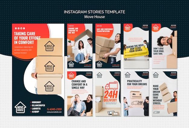 Plantilla de historias de instagram de move house