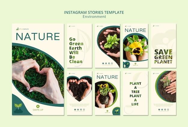 Plantilla de historias de instagram de naturaleza y plántulas
